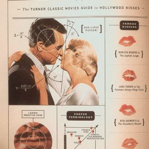 Famous kisses from old movies depicted in a book